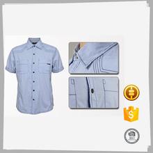 Top de gama de moda barata ocasional hilo duyed camisa de lino de algodón hombres