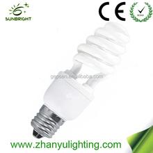 High efficiency 9mm half spiral lamp bulbs energy saving bulb 11w lamp cfl made in China