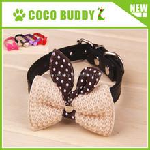 2015 hot sale plush fabrics bow tie dog leather collar pet supplies factory price