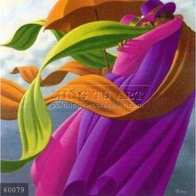 100% Handmade Pop Surrealism fantasy Umbrella oil Painting on canvas, with love in wind
