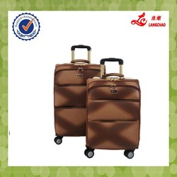 New Products Brown Color Leather PU Steel Trolley 360 Wheels Alibaba China Leather Luggage Bag