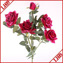 LH-022 artificial velvet rose with 5 heads