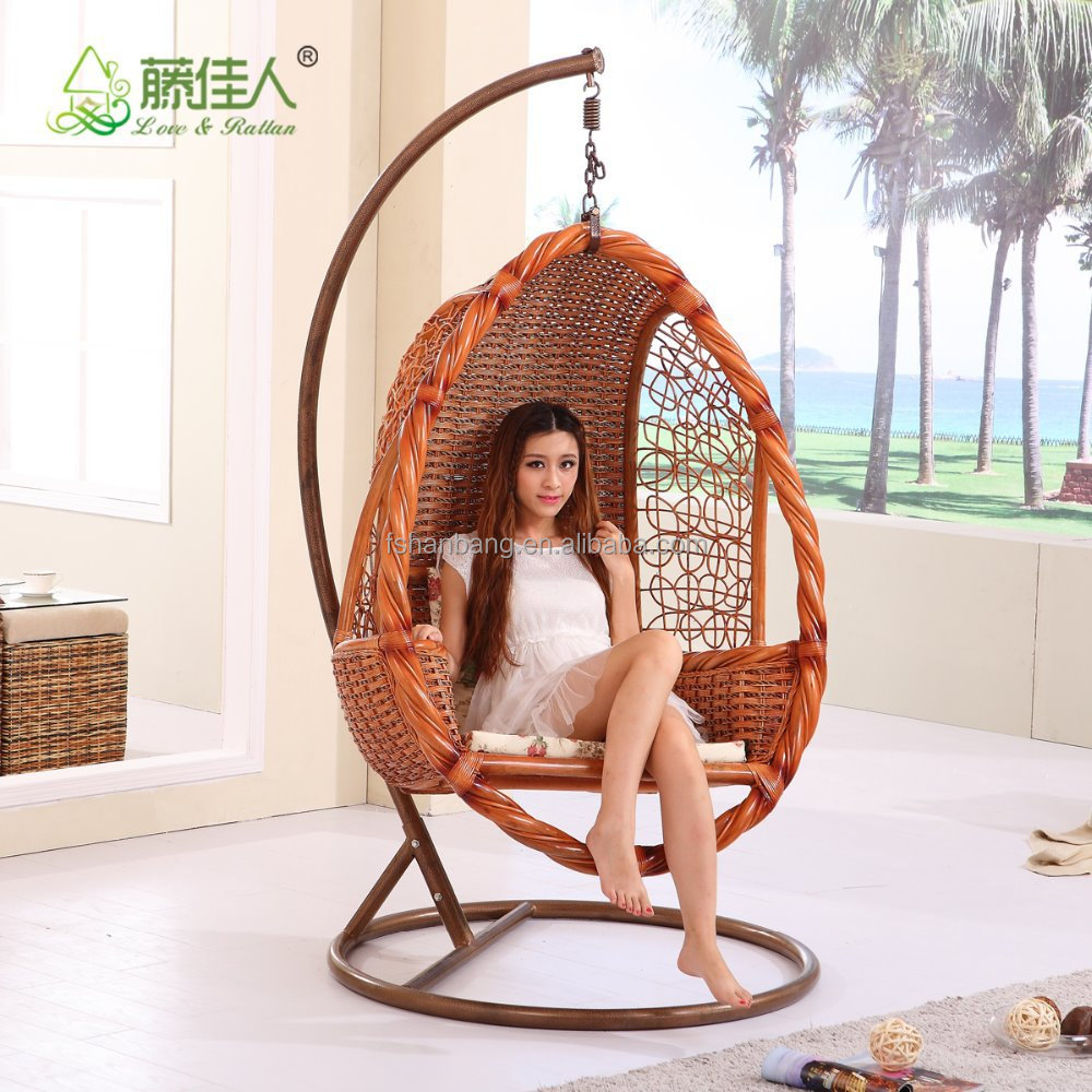 High Quality French Indoor Bamboo Real Natural Rattan Wicker Cane Hanging Swi