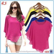 Free Sample China wholesale woman clothes flouncing bat sleeves top fashion chiffon blouse