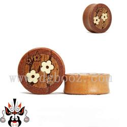 Fashion wood ear plugs inlay beautiful decorated flower body jewelry ear plugs