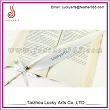 Lucky Arts promotional feather pen ,cheap goose feather pen quill ball pen