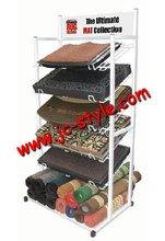 Supermarket floor standing carpet rack floor mat display shelf/retail store car cushion display shelf/doormat display stand