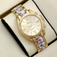 Fashion Vogue Flower Geneva Watch Gold Plated Stainless Steel Case Back Wrist Watch Women Ladies Watches