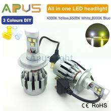 2015 Newest 6500K white,4300K yellow,8000K blue 3 colours changeable 12V led headlight H4