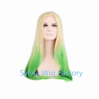 Wholesale Synthetic slik straight ombre blonde green wig Lace Front For African American Black Woman with heat resistant fiber
