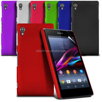 2 piece Solid Color Rubberized Plain Cell Phone Case for Sony Xperia Z1 L39h
