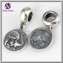 hot selling 925 sterling silver antique Zodiac monkey silver beads for bracelets