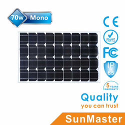 China best pv supplier 70w monocrystalline solar panel low cost for solar powered led strip lights