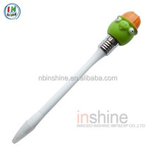 Cartoon soft pvc activity head ball pen , vinyl animal pen , shaped pen