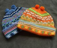 winter warm acrylic lovely kids knitted hat
