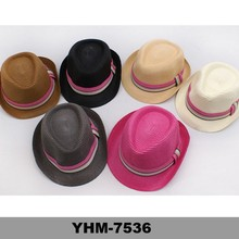 Cheap Unisex design your own summer promotional fedora hat paper wholesale straw hats