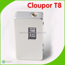 Crazy Selling!! Top design dual 18650 battery box mod cloupor t8 150w original variable wattage 7w-150w cloupor