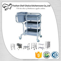 Plastic Dishware Cleaing Cart Resturant Hotel Cleaning Trolley Cart Square Tube Slience Design Factory Price