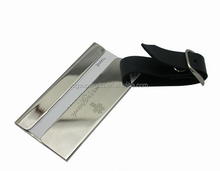 metal aluminum alloy with screen printed leather strap luggage tags