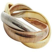 Superposición Tri-Tone oro entrelazado pulsera del estiramiento