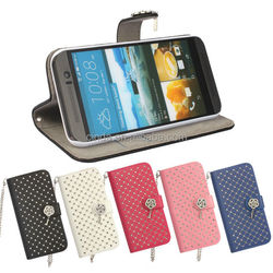 Shiny Leather Diamond Pendant Wallet Case Cover For HTC One 3 M9 2015