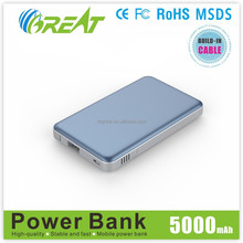 new mobile accessories built-in cable pow power bank 5000mah portable mobile battery charger for samsung galaxy note3 power bank