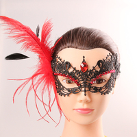 Fashion new red feather lace party mask