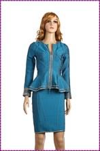 bandage embroidery design long sleeve stylish ladies office dress