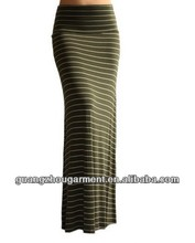 las mujeres 2014 multi foldover a rayas jersey rayón tejido maxi largo falda s m l xl
