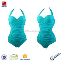 2015 Wholesale solid color sexy lady one piece bikini swimsuit