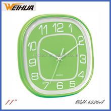 Green 11 inch cheap plastic wall clock