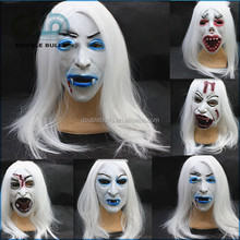 Hot-selling Masquerade Mask Halloween latex mask horror mask ghost mask,White hair White face