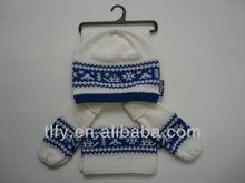 acrylic jacquard hat scarf gloves set