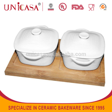 S/3 Ceramic Dinner canister with wooden set