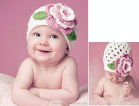 wholesale new flower handmade baby beanie knitted crochet hat MZ2379