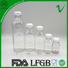 Food grade clear square drinking PET plastic container