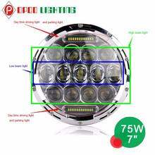 Hot led daytime running light 75w 7'' hi low beam round led headlight for toyota
