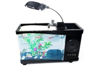 2015 Promotional gift mini plastic aquarium fish tank with bluetooth speaker
