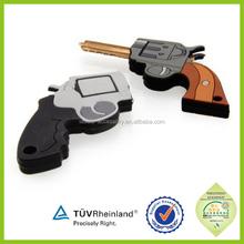 2015 top popular cool charm men gift pvc rubber Keychain Gun For Sale