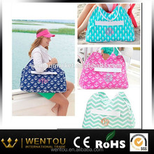 Fashion Lady Crochet Chevron And Anchor Embroidered Beach Bag