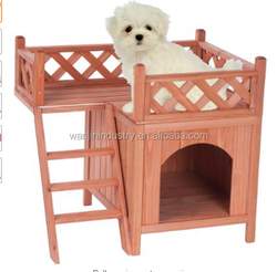 Indoor/Outdoor Pet Dog Wood House with Side Steps and Balcony,Nature Color