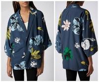 Женская синяя вишня цветочные печатных v-образный вырез бандаж свободные кимоно кардиган блейзеры