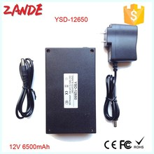 Portable 6500 mah dc 12v li ion battery pack rechargeable YSD-12650 with black case high quality