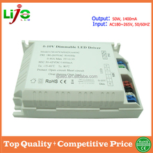 0/1-10v dimming 50w 1400ma led driver with PWM contol method for led light 3years warranty