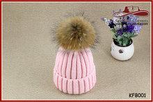 Baby Pink Warm Fashion Knit Caps Fur Ball Knit Caps