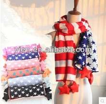 2014 Wholesale Winter Hot Fashion Knitted Scarf America Flag Knitted Scarf