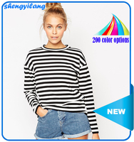 Hot sale women round neck long-sleeve black and white stripe t-shirt
