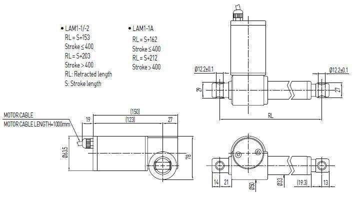 lam1 right angle 8 21 mms 100 400 mm 24v hiwin cylinder