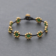 2015 fashion bracelet Green Jade Braided Bracelet copper brass round beads string woven bracelet