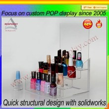 High Clear Counter Acrylic 4 Steps Display Stand Nail Polish Acrylic Display Stand